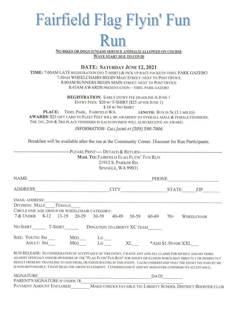 Fairfield Flyin' Flag Fun Run Entry Form